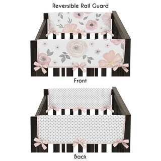 Sweet Jojo Designs Blush Pink, Grey and White Watercolor Floral Collection Side Crib Rail Guard Covers (Set of 2)
