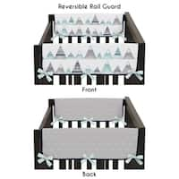 Sweet Jojo Designs Navy Blue, Aqua and Grey Aztec Mountains Collection Side Crib Rail Guard Covers (Set of 2)