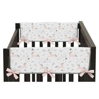 Sweet Jojo Designs Pink, Grey and Gold Unicorn Collection Side Crib Rail Guard Covers (Set of 2)