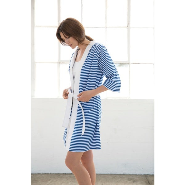 Women's Organic Cotton White and Blue Stripe Bath Robe
