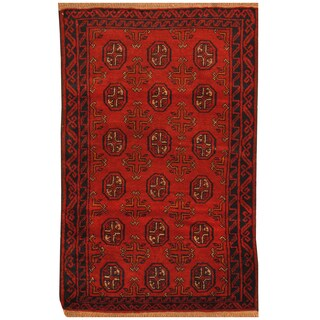 Handmade Herat Oriental Afghan Hand-knotted Tribal Balouchi Wool Rug (Afghanistan) - 2'10 x 4'5