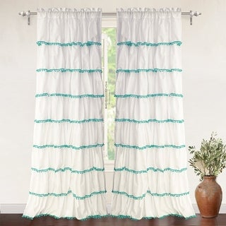 DriftAway Pom Pom Ruffle Window Curtain, 1 Panel