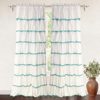 DriftAway Pom Pom Ruffle Window Curtain Panel (2 options available)