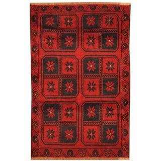 Handmade Herat Oriental Afghan Hand-knotted Tribal Balouchi Wool Rug - 2'11 x 4'6 (Afghanistan)