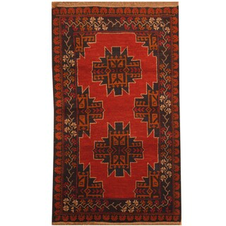Handmade Herat Oriental Afghan Hand-knotted Tribal Balouchi Wool Rug - 2'10 x 4'10 (Afghanistan)