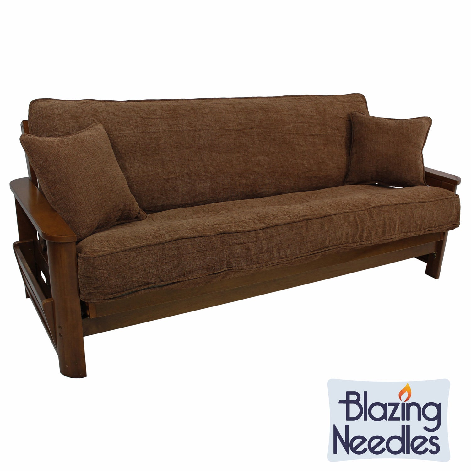 Blazing Needles Solid Chenille Double-corded Futon Cover ...