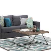 WYNDENHALL Camilla Solid Elm Wood and Metal Industrial Square Coffee Table in Distressed Java Brown