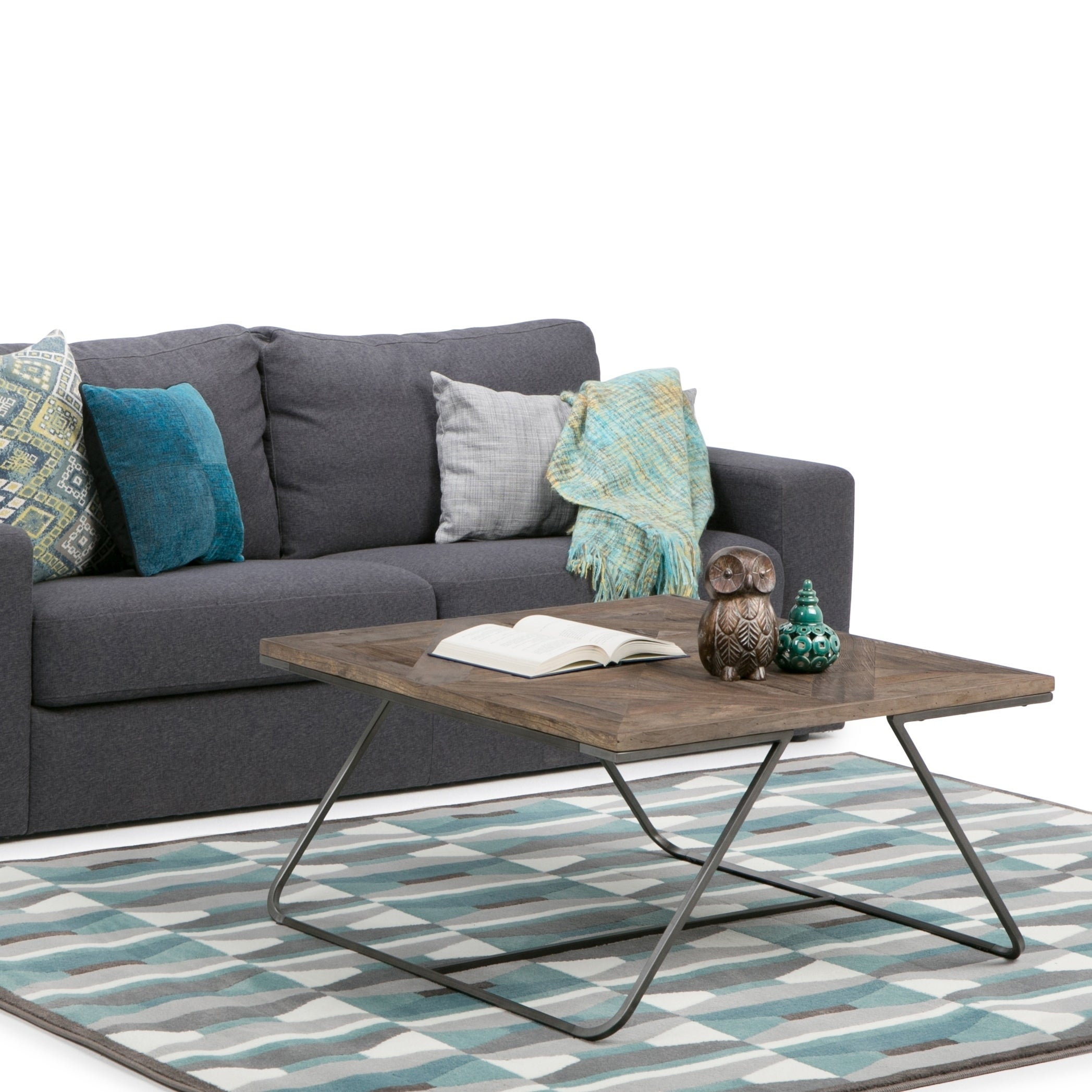 Sensational Wyndenhall Camilla Solid Aged Elm Wood And Metal 34 Inch Wide Square Industrial Coffee Table In Distressed Java Brown Wood Inlay Lamtechconsult Wood Chair Design Ideas Lamtechconsultcom