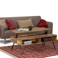 WYNDENHALL Moreno Solid Mango Wood and Metal Industrial Lift Top Coffee Table with Hairpin Legs