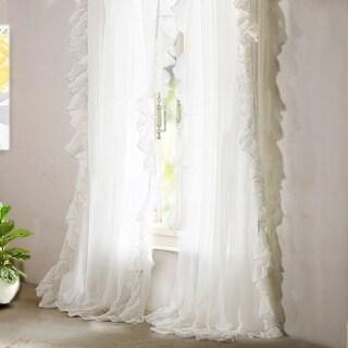 DriftAway Sophie Sheer Voile Ruffle edge Window Curtain Panel Pair