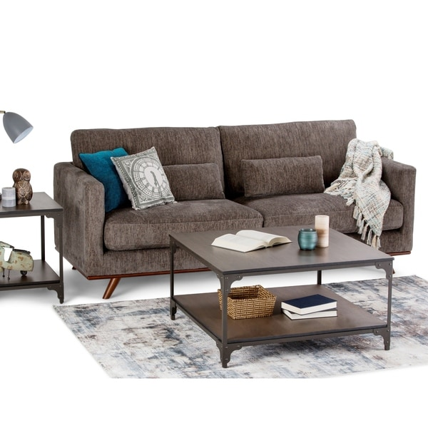 Deon Industrial Style Pattern Metal Rectangle Coffee Table: Shop WYNDENHALL Oakley Solid Mango And Metal Square