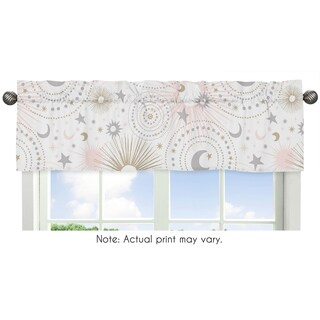 Sweet Jojo Designs Blush Pink, Gold, Grey and White Star and Moon Celestial Collection Window Curtain Valance