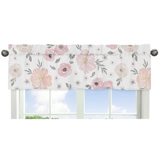 Sweet Jojo Designs Blush Pink, Grey and White Watercolor Floral Collection Window Curtain Valance