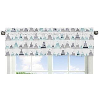 Sweet Jojo Designs Navy Blue, Aqua and Grey Aztec Mountains Collection Window Curtain Valance