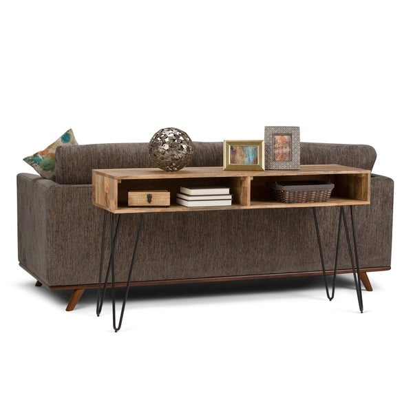 WYNDENHALL Moreno Solid Mango Wood and Metal 55 inch Wide Mid Century Modern Console Sofa Table in Natural - 55 W x 16 D x 30 H