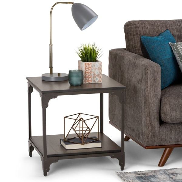 WYNDENHALL Oakley Solid Mango Wood and Metal 21 inch Wide Square Modern Industrial End Side Table in Walnut Brown