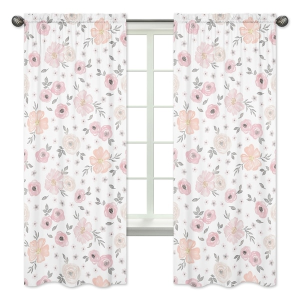 Sweet Jojo Designs Blush Pink, Grey and White Watercolor Floral Collection 84-inch Window Treatment Curtain Panel Pair