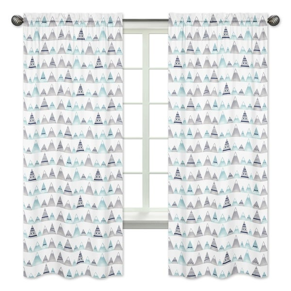 Sweet Jojo Designs Navy Blue, Aqua and Grey Aztec Mountains Collection 84-inch Window Treatment Curtain Panel Pair