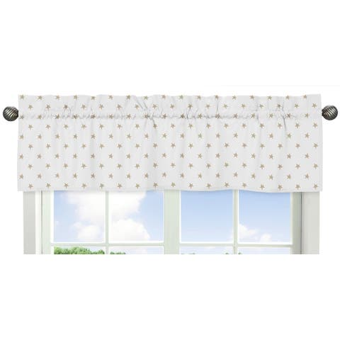 Sweet Jojo Designs Gold and White Star Celestial Collection Window Curtain Valance