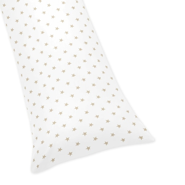 Sweet Jojo Designs Gold and White Star Celestial Collection Body Pillow Case (Pillow Not Included)