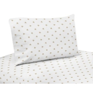 Sweet Jojo Designs Gold and White Star Celestial Collection 4-piece Queen Sheet Set