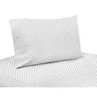 Sweet Jojo Designs Grey and White Polka Dot Watercolor Floral Collection 3-piece Twin Sheet Set