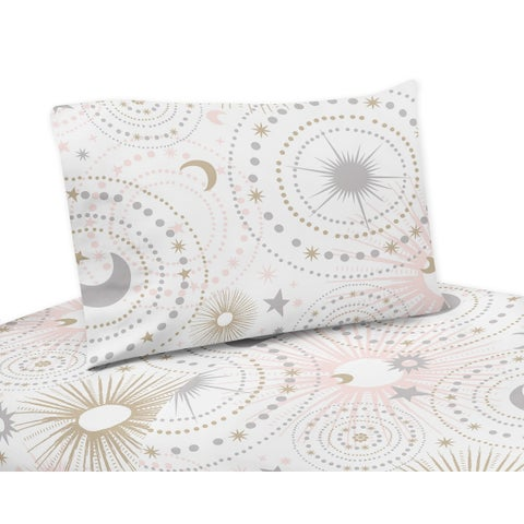 Sweet Jojo Designs Blush Pink, Gold, Grey and White Star and Moon Celestial Collection 4-piece Queen Sheet Set