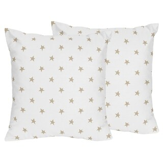 Sweet Jojo Designs Gold and White Star Celestial Collection 18-inch Decorative Accent Throw Pillows (Set of 2)