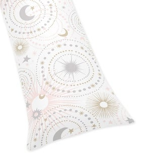 Sweet Jojo Designs Blush Pink, Gold, and Grey Star and Moon Celestial Collection Body Pillow Case (Pillow Not Included)