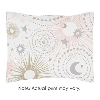 Sweet Jojo Designs Blush Pink, Gold, Grey and White Star and Moon Celestial Collection Standard Pillow Sham