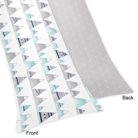Sweet Jojo Designs Navy Blue, Aqua and Grey Aztec Mountains Collection Body Pillow Case (Pillow Not Included)