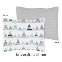 Sweet Jojo Designs Navy Blue, Aqua and Grey Aztec Mountains Collection Standard Pillow Sham