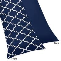Sweet Jojo Designs Navy Blue and White Modern Trellis Lattice Collection Body Pillow Case (Pillow Not Included)