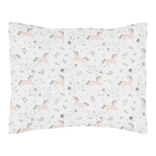 Sweet Jojo Designs Pink, Grey and Gold Unicorn Collection Standard Pillow Sham