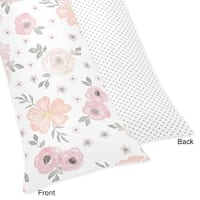Sweet Jojo Designs Blush Pink, Grey and White Watercolor Floral Collection Body Pillow Case (Pillow Not Included)