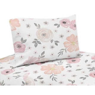 Sweet Jojo Designs Blush Pink, Grey and White Watercolor Floral Collection 3-piece Queen Sheet Set