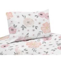 Sweet Jojo Designs Blush Pink, Grey and White Watercolor Floral Collection 3-piece Twin Sheet Set