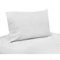 Sweet Jojo Designs Grey and White Polka Dot Watercolor Floral Collection 4-piece Queen Sheet Set