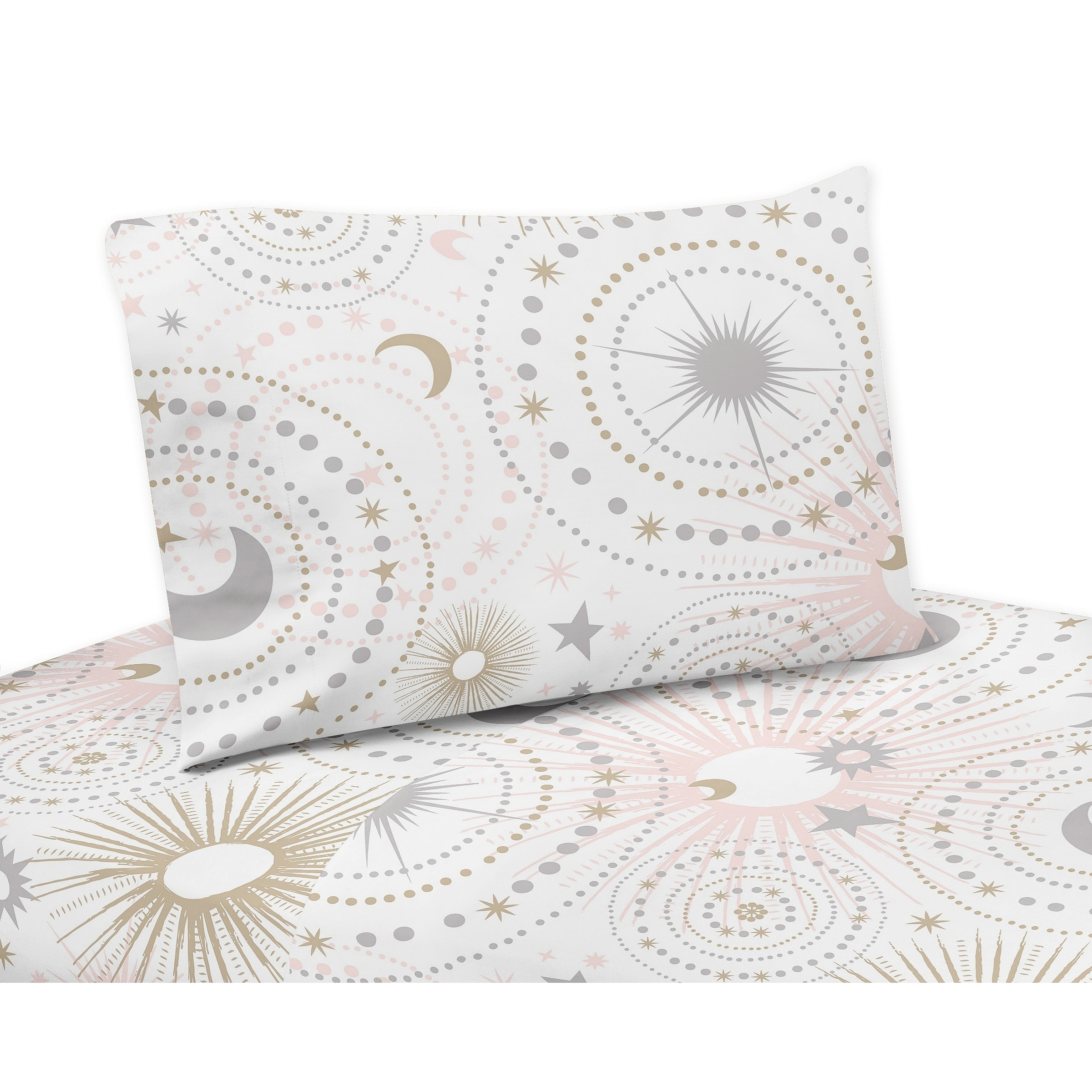 JoJo Designs Blush Pink, Gold, Grey and White Star and Mo...