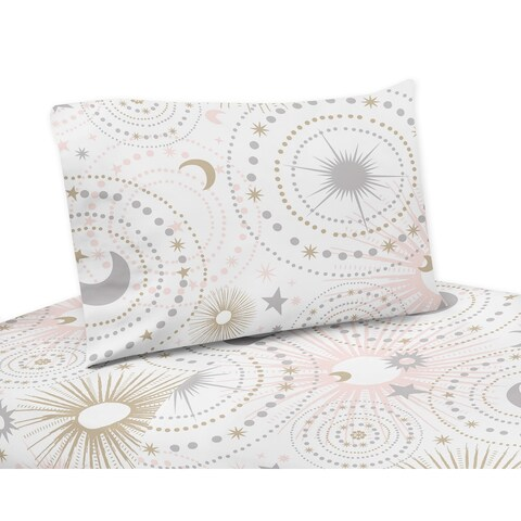 Sweet Jojo Designs Blush Pink, Gold, Grey and White Star and Moon Celestial Collection 3-piece Twin Sheet Set