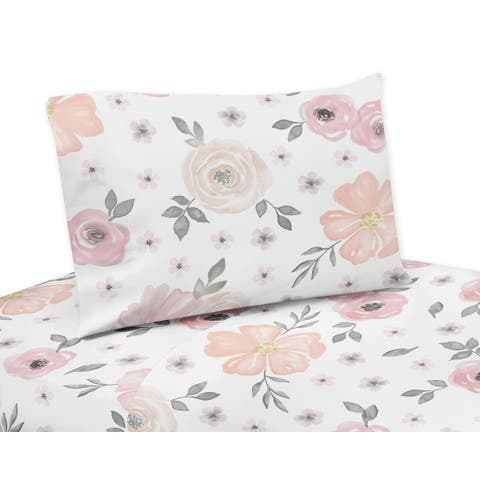 Sweet Jojo Designs Blush Pink, Grey and White Watercolor Floral Collection 4-piece Queen Sheet Set