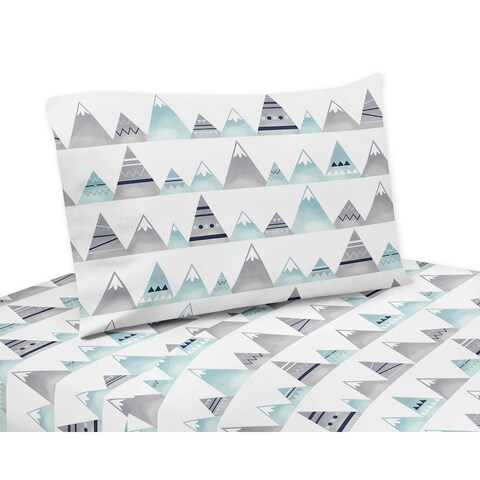 Sweet Jojo Designs Navy Blue, Aqua and Grey Aztec Mountains Collection 3-piece Twin Sheet Set