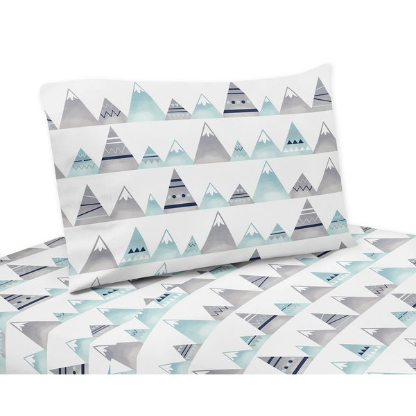 Sweet Jojo Designs Navy Blue, Aqua and Grey Aztec Mountains Collection 3-piece Twin Sheet Set