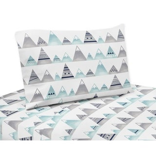 Sweet Jojo Designs Navy Blue, Aqua and Grey Aztec Mountains Collection 4-piece Queen Sheet Set