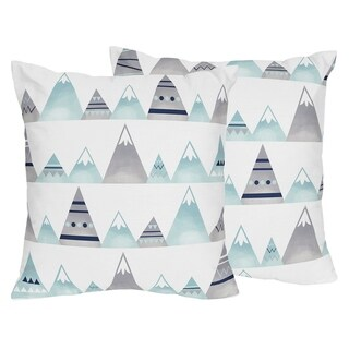 Sweet Jojo Designs Navy Blue, Aqua and Grey Aztec Mountain Collection 18-inch Decorative Accent Throw Pillows (Set of 2)