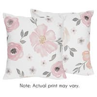 Sweet Jojo Designs Blush Pink, Grey and White Watercolor Floral Collection 18-inch Decorative Throw Pillows (Set of 2)