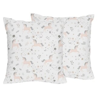 Sweet Jojo Designs Pink, Grey and Gold Unicorn Collection 18-inch Decorative Accent Throw Pillows (Set of 2)