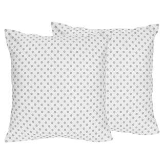Sweet Jojo Designs Grey and White Polka Dot Watercolor Floral Collection 18-inch Decorative Throw Pillows (Set of 2)