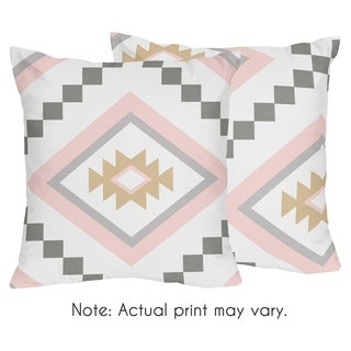 Sweet Jojo Designs Blush Pink and Grey Boho Aztec Collection 18-inch Decorative Accent Throw Pillows (Set of 2)