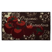 """Tomatoes Printed Textured Loop Oblong Kitchen Accent Rug - 1'5"""" x 2'5"""""""